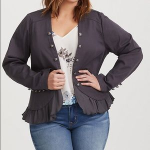 Torrid Peplum Twill Military Jacket